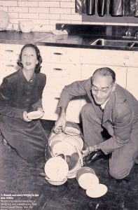 Mary and Russel Wright demonstrating one of their product lines in the late 1940s (photo provided)