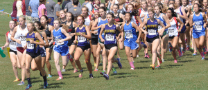 Haldane's Taylor Farrell (left), Heather Winnie (center) and Ruby McEwen compete in the Monroe Woodbury Crusader Classic