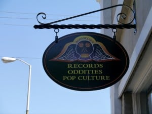 Audioccult's sign on Main Street (photo by J. Simms)