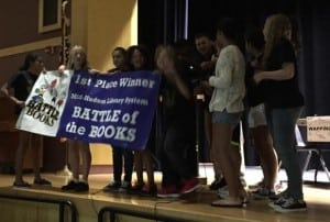 The Beacon Bees being recognized as winners of the 2015 Battle of the Books (photo provided)