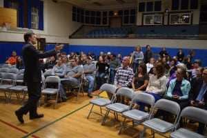 Haldane High School principal Brian Alm spoke with audience at the forum. (Photo by M. Turton)