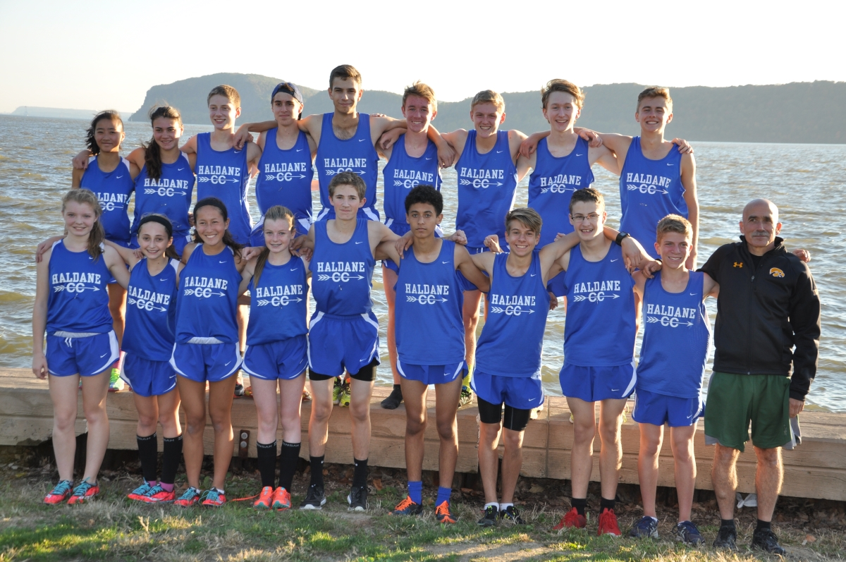 Haldane Cross Country team with coach Tom Locascio after Croton Point Park Invitational on Tuesday October 20th