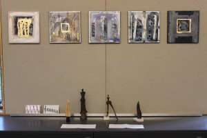 Paintings by Dorota Michaluk of France and sculptures by Hanna Oren Huppert of the Netherlands. (Photo by A. Rooney)
