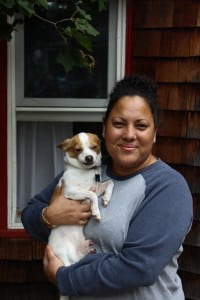 Melissa Santos, holding Pancho (photo by A. Rooney)