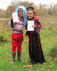 Two adventurers on the I Spy Halloween Trail (photo provided)