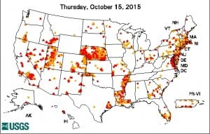 A map showing wells among the 1,400 monitored nationwide by the USGS in which water levels are below normal. Red circles indicate the most extreme conditions.