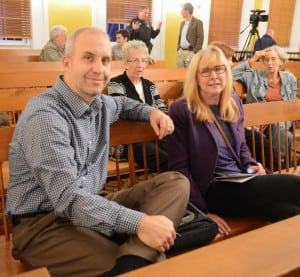 Cold Spring Trustees Mike Bowman and Cathryn Fadde await the vote of the Putnam County Legislature on the Butterfield lease. (Photo by L.S. Armstrong)