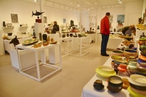 Pottery and other goods fill the Garrison Art Center for the holiday sale. Photo by L.S. Armstrong