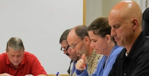 PhilipstownTownBoardmembersduringrecentbudgetdeliberations,fromleft:CouncilorsRobertFlahertyandMikeLeonard,SupervisorRichardShea,CouncilorsNancyMontgomeryandJohnVanTassel;photobyL.S.Armstrong