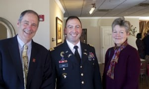 David and Cathy Lilburne of the Cold Spring Lions Club with guest speaker Lt. Col. David R. Siry, director of the Center for Oral History at the U.S. Military Academy at West Point, at the group's annual Election Day luncheon.