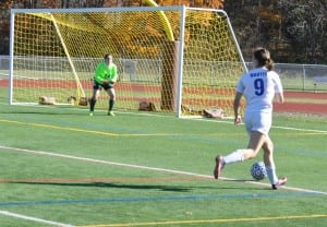 Marina Martin's four goals led the Blue Devils to a 6-2 victory over Solomon Schechter in the Class C Sectional Championship on  Oct. 30 (photo by Peter Farrell)