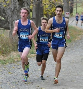 Nick Farrell, Adam Silhavy and Theo Henderson lead the Haldane boys' varsity cross-country team to its eighth consecutive Section 1 Section D championship on Nov. 7. Henderson was also the Section 1 Class D champion. (Photo by Peter Farrell).