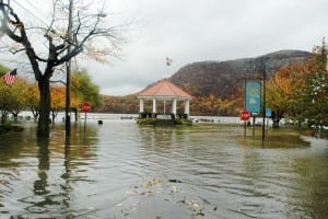 The Cold Spring bandstand during flooding caused by Hurricane Sandy in 2012 (file photo by L.S. Armstrong)