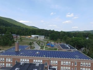 A view of the Haldane rooftop solar panels (Photo courtesy Monolith Solar)