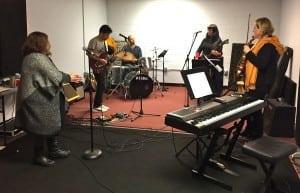 TheHeartLikeAWheelmusicians(minusguitaristStephenClair)rehearsingatBeaconMusicFactory(PhotobyA.Rooney)