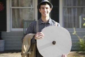 Mr. Antrobus invents the wheel. 'Friday cast' member Theo Henderson (Photo by Jim Mechalakos)
