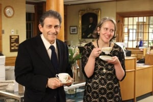 Former Friends of Desmond-Fish Library President Del Fidanque taking tea with library Director Jen McCreery.