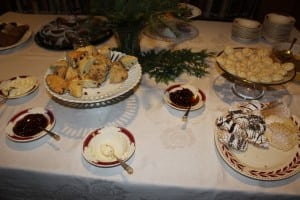 Scones with real clotted cream and jam were a centerpiece of the table of goodies.