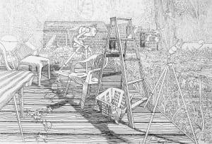BackDeckwithTelescope(etching)byGeorgeKnaus(courtesyLisaKnaus)