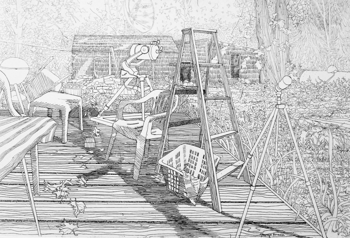 George Knauss etching on paper Back Deck with Telescope IMG_6337