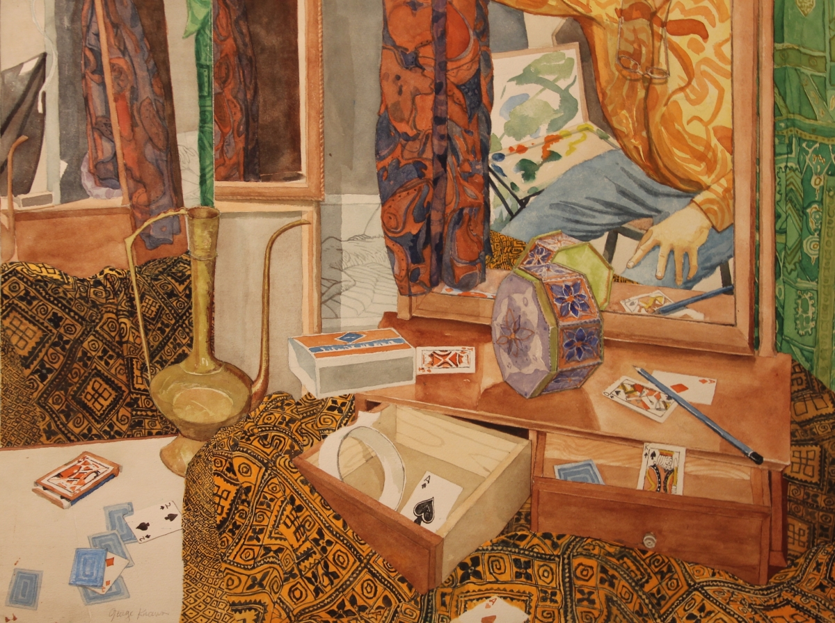 George Knauss water color Still Life With Ace of Spades IMG_7608