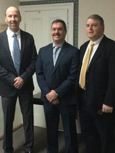 Town Board member Robert Flaherty, right, and new Highway Superintendent Carl Frisenda, center, with Town Supervisor Richard Shea, at their swearing-in ceremony on January 1. Nancy Montgomery, Town Board, and Tina Merando, Town Clerk were also sworn in. Photo provided by Robert Flaherty