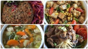 Clockwise from top left: Black bean burger, blackened tofu, chicken noodle soup and stuffed potato.