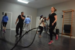 Battle ropes are a popular workout. (Photo by M. Turton)
