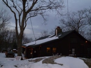 Thendara Mountain Club during Christmas week, fire pit outside, fireplace and furnace inside (photo by A. Peltonen)