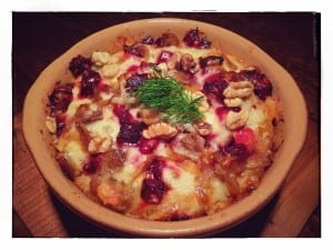 Roasted Beet and Caramelized Onion Bread Pudding (photo by J. Dizney)