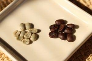 Beforeandafter—greencoffeebeansandfreshlyroastedbeans (PhotobyM.A.Ebner)