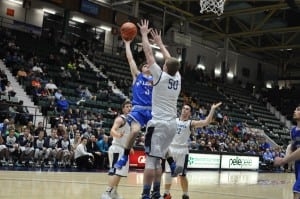 David Rotando goes for two against Moravia in the Class C semifinals on March 11 at the Glens Falls Civic Center. (Photo by Peter Farrell)