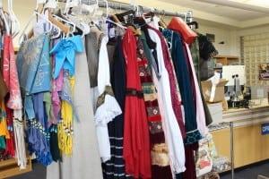 Costumes,largelydesignedbystudents,fillarehearsalrack.(PhotobyA.Rooney)