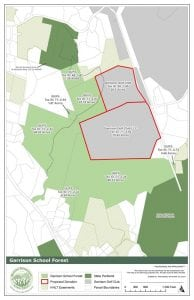 A map of the Garrison School Forest property.