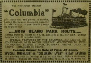 A period advertisement for the then just-completed SS Columbia and its sailings.