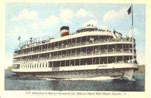 Its many decks filled with passengers, this vintage postcard is from the SS Columbia's heyday, voyaging between Detroit and Boblo Island Park.