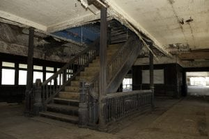 A wooden staircase aboard the SS Columbia survives, but is in need of major restoration. (photo provided)