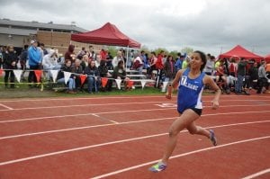 Michaela Khadabux of Haldane competes in the 4x800m relays at the Somers Lion Club Invitational on May 7 (Photo by Peter Farrell)