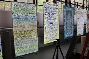 PeterBynum'silluminatedpaintings,suspendedinhisPeekskillstudio.(PhotobyA.Rooney)