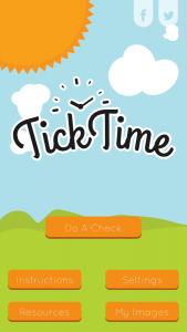 The home screen of the Tick Time app