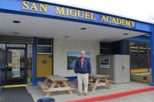 Fr.MarkConnell,picturedinfrontofSanMiguelAcademy.(PhotobyA.Rooney)