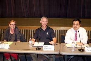 Beacon school board candidates Meredith Heuer, Michael Rutkoske and Antony Tseng (Photo by Kevin E. Foley)