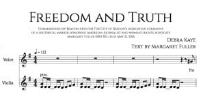 "The first four bars of Debra Kaye's song, with text from ""Freedom and Truth"" by Margaret Fuller. (Image provided)."