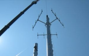 A cell phone tower being installed (Homeland Towers photo)