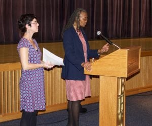 Deborah Davidovits and Lorraine Hexstall moderated the Meet the Candidates forum Wednesday in Beacon. (Photo by Kevin E. Foley)