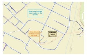 A map of the water main work at Butterfield