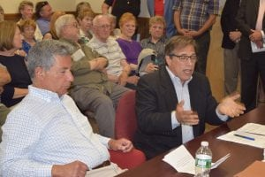 Paul Guillaro and attorney Steven Barshov are shown at a Cold Spring  Planning Board meeting in June when a compromise was reached about relocating the senior center to the Lahey Pavilion. (File photo by M. Turton)