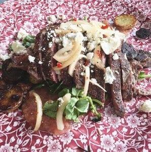 Ribeyesteakwithwatercress,celeryrhubarbsauce,bluecheese,andfingerlingpotatoes.(Photo provided)