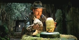 A scene from Raiders of the Lost Ark, starring Harrison Ford.