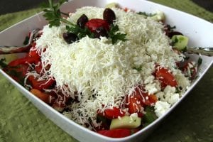 "A national dish, the Bulgarian ""shopska"" salad (Photo by M.A. Ebner)"